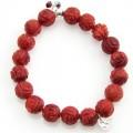 Heart rood Koraal zilver armband 02