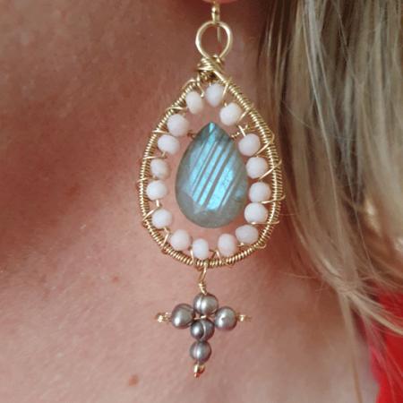 Sacred Cross Earrings Labradorite