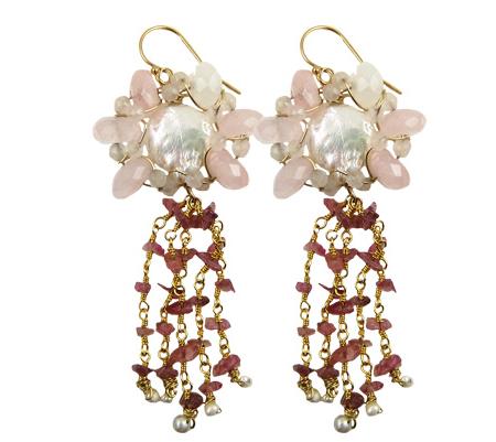 dancing flowers earrings-rozenkwarts