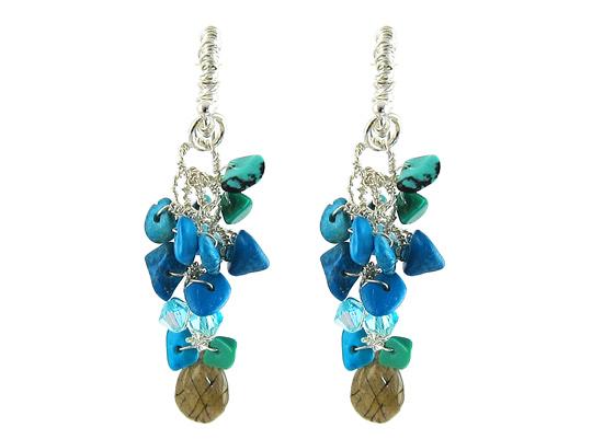 bohemian oorbellen zilver turquoise