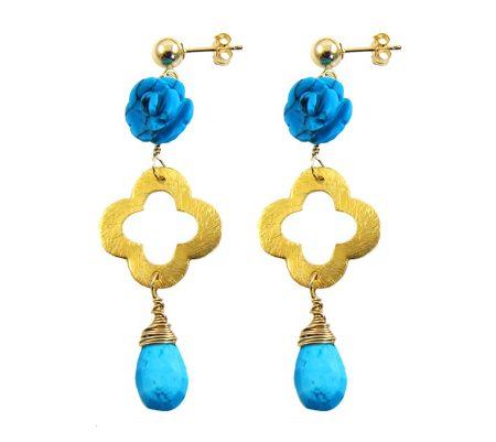 clover oorbellen turquoise