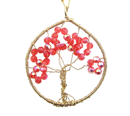 gold filled Tree of Life Swarovski coral