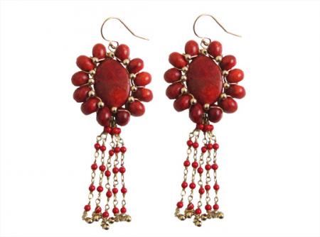 dancing flower coral earrings