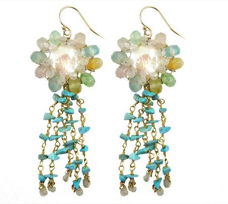 dancing flowers- earrings-turquoise