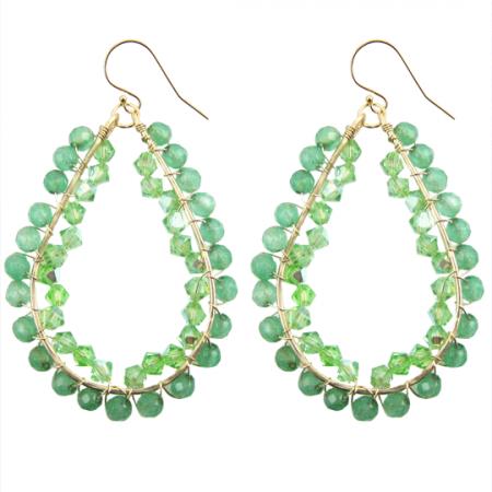 happy tear drops gold filled groene jade