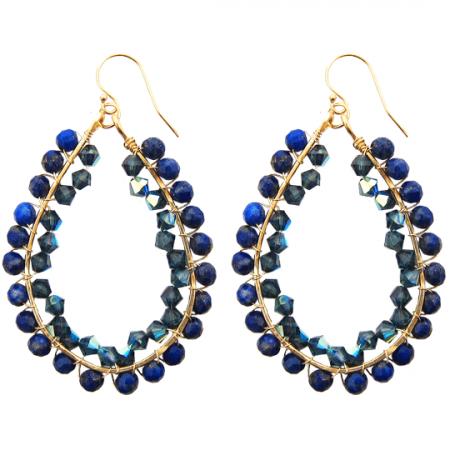 happy tear drops goldfilled lapis lazuli swarovski