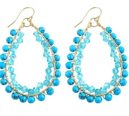happy tear drops oorbellen goldfilled turquoise