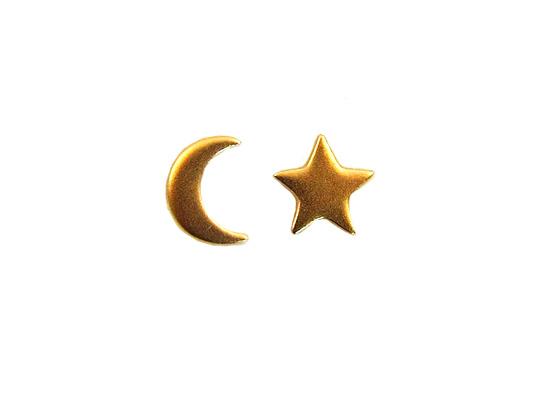 mini maan ster oorbellen goud