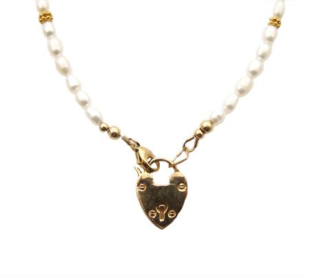 Heart Lock Pearl ketting