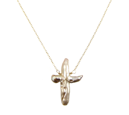 pearl cross ketting