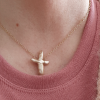 pearl cross ketting gold filled