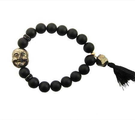 pyriet onyx smiling buddha armband