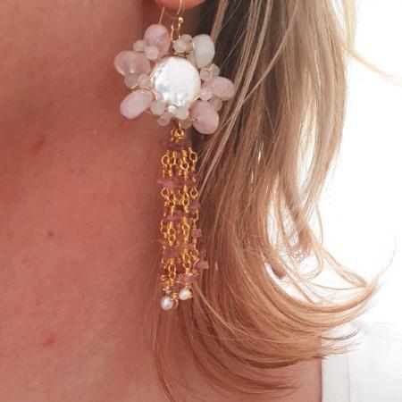 Dancing Flower Earring Rose Quartz