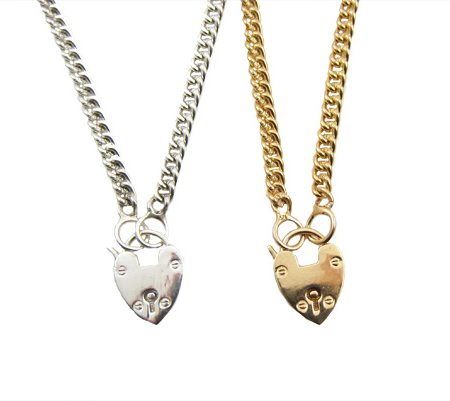 sacred heart lock ketting zilver