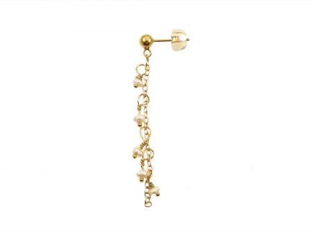 single parel chain oorbel