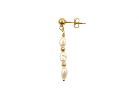 Single Earring Three Pearls