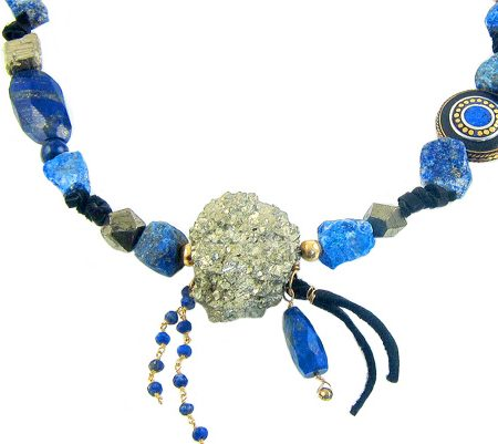 soulful creation pyriet lapis lazuli native statement ketting