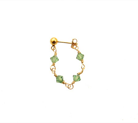 sparkling love single earring groen
