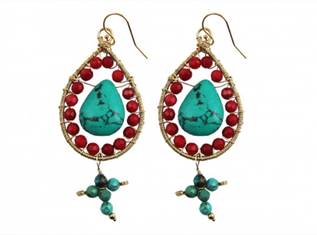 sacred cross oorbellen turquoise koraal