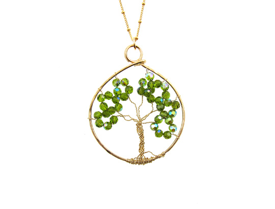 tree of life swarovski goud green