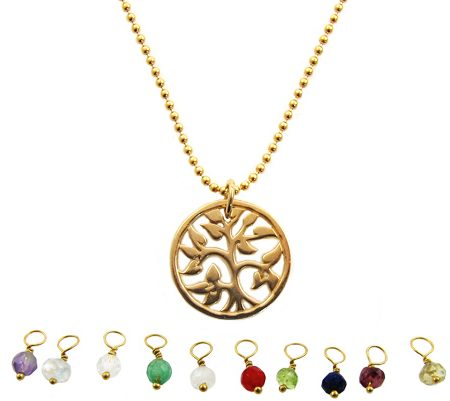 geboortesteen goldfilled ketting tree of life