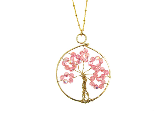 tree of life ketting goud swarovski roze