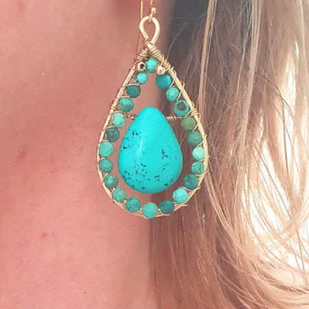 turquoise goldfilled teardrops
