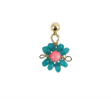 Love Daisy single oorbel turquoise roze